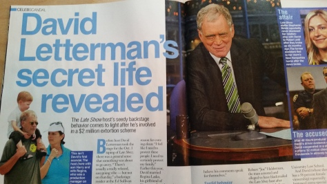 Life & Style magazine's version of that night and Letterman's affair featuring a quote from me.
