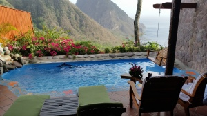 Private pool and swing overlooking the Pitons from a suite at Ladera.