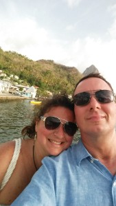 My wife and me leaving Soufriére on a catamaran.