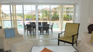 Living room with an enormous veranda at The Landings.