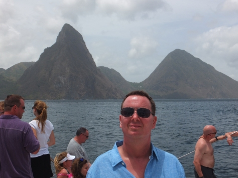 On the catamaran to Soufriere. The Pitons in the background.