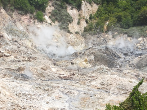 Sulfur Springs in Soufriere. It's called a 'drive thru' volcano. You can't drive up to the volcano any more, but you get pretty close.