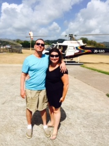 On the helipad in St Lucia.