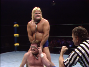 The infamous Starrcade 83 dog collar match. Piper won, but lost a lot of blood from his ear in the process